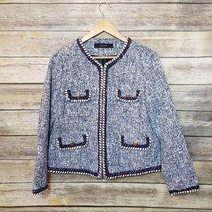 Zara Basic Tweed Nautical Pocket Knit Blazer